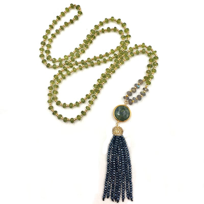 ARIA LONG TASSEL NECKLACE IN VESUVIANITE, LABRADORITE  & MIDNIGHT CRYSTALS