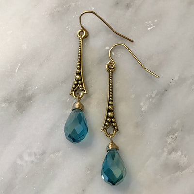 PARIS EARRINGS ~ Antique Gold or Silver in various crystals & pearls