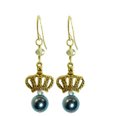 SWEET CROWN EARRINGS ~ Gold or Silver in various stones & pearls