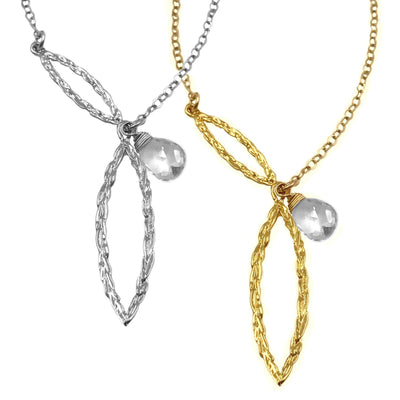 Amor Vincit Omnia PEACE UNITY NECKLACE with White Topaz in Gold or Silver