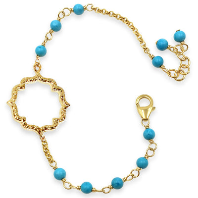 MOROCCAN KISS BRACELET, turquoise & gold or silver