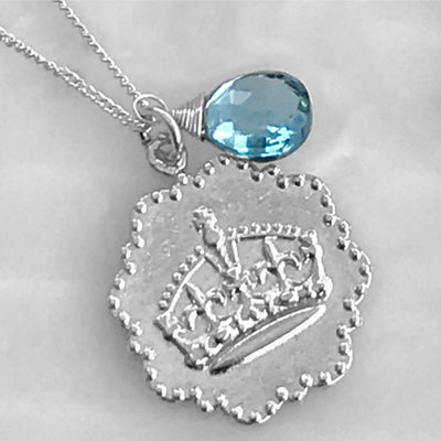 KEEP CALM AND CARRY ON BIRTHSTONE NECKLACE