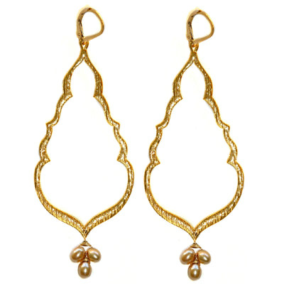BUDDHA'S KISS© Gold Statement Earrings ~ Gold or Silver, clusters of assorted stones or pearls