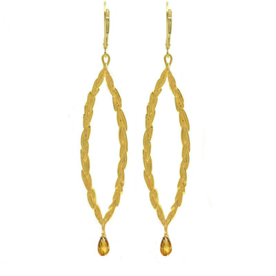 Amor Vincit Omnia Gold PEACE EARRINGS with Citrine Drop ~ Large & Medium