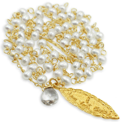 "Amor Vincit Omnia (""Love Conquers All"") Long Pearl Necklace~gold or silver, assorted pearls & white topaz"