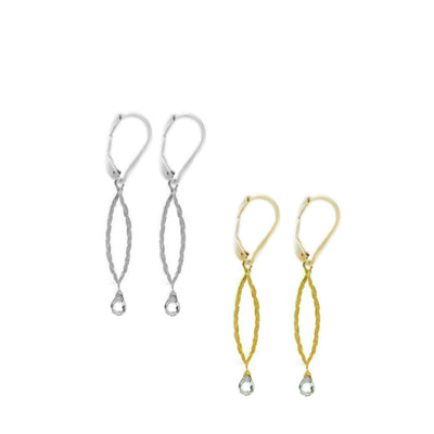 Amor Vincit Omnia Gold PEACE EARRINGS (Small dainty size) ~ Gold or Silver, Clear Crystal