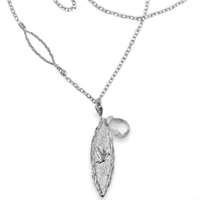 Amor Vincit Omnia Necklace with White Topaz, Gold or Silver, 18 or 36 inches long