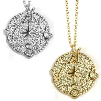 TRUE NORTH COMPASS NECKLACE ~ gold or silver