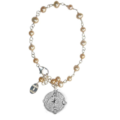 TRUE NORTH COMPASS PEARL BRACELET ~ gold or silver