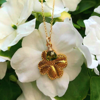 FOUR LEAF CLOVER NECKLACE, with olive CZ