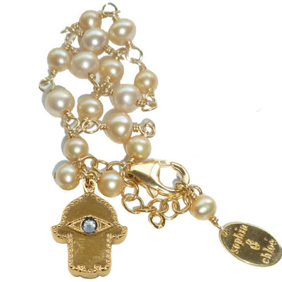 HAMSA PEARL CHARM BRACELET~ gold or silver, assorted pearls