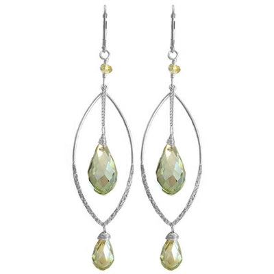 MARQUISE MINT GREEN EARRINGS ~ Gold or Silver