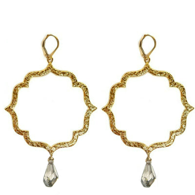 KISS LARGE MOROCCAN EARRINGS ~ FLORAL TEXTURE gold or silver, assorted stones