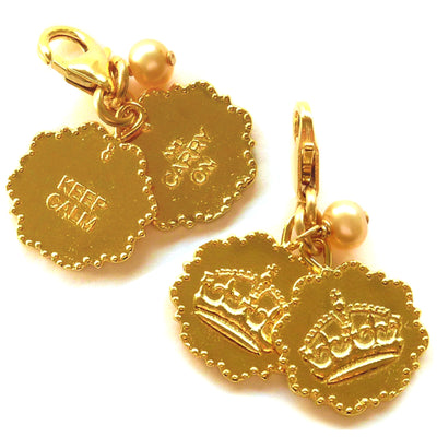 KEEP CALM AND CARRY ON DOUBLE CHARMS, detachable, in gold or silver
