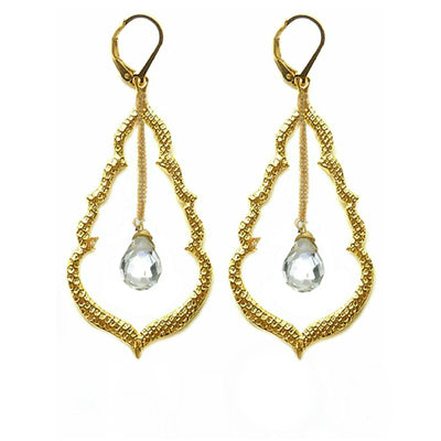 BUDDHA'S KISS© DROP EARRINGS (medium) ~ gold or silver), assorted stones & crystals