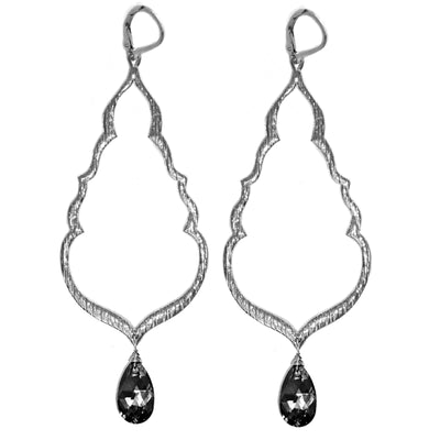 BUDDHA'S KISS© Silver Statement Earrings, assorted crystals