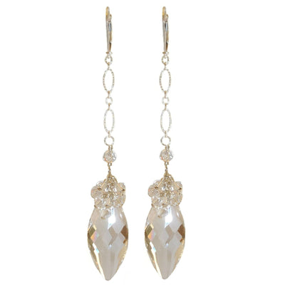 KATE LONG SWAROVSKI CRYSTAL EARRINGS