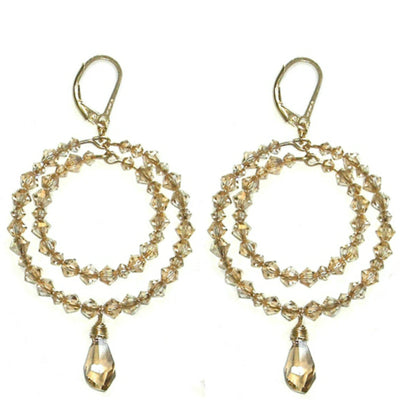 BETH HOOP EARRINGS ~ Gold or Silver in various crystals