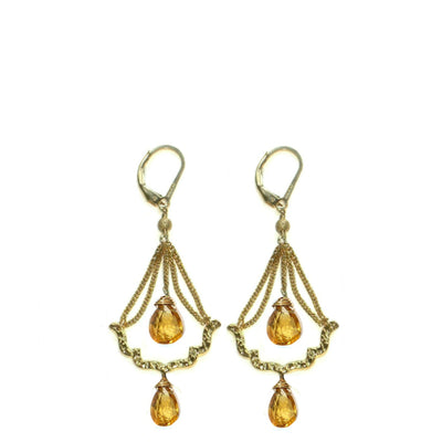 BISOU CHANDELIER EARRINGS ~ assorted stones in gold or silver