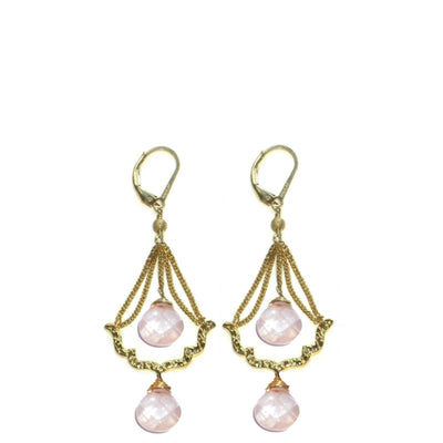 Rose quartz earrings bisou small chandelier earrings sophia chlo bisou chandelier earrings assorted stones in gold or silver aloadofball Image collections
