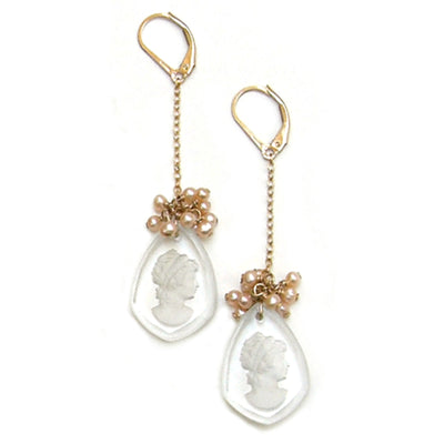 CAMEO EARRINGS, gold or silver