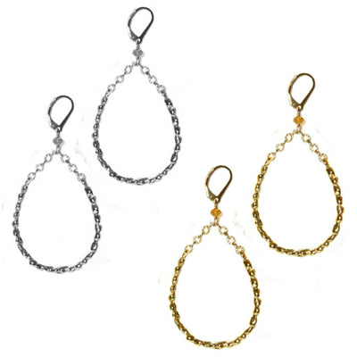 STEPPING STONE TEARDROP EARRINGS (MEDIUM) ~ Gold or Silver