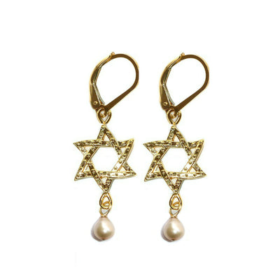 STAR OF DAVID PEARL EARRINGS ~ Gold or Silver