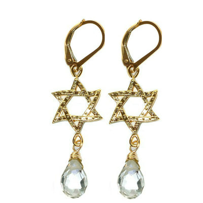 STAR OF DAVID EARRINGS ~ Crystal in Gold or Silver