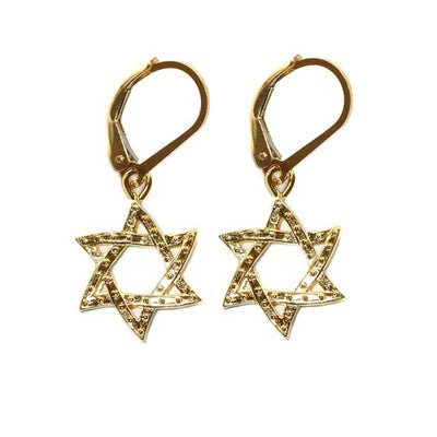 STAR OF DAVID GOLD EARRINGS ~ Gold or Silver
