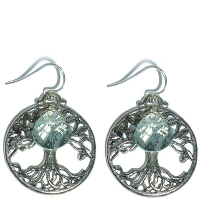 TREE OF LIFE EARRINGS ~ gold or silver with blue quartz