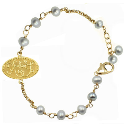 HOPE & FAITH PEARL CHARM BRACELET ~ gold or silver