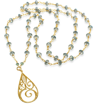OM© LONG CRYSTAL STATEMENT NECKLACE