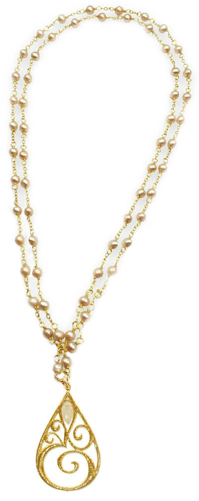OM© LONG PEARL STATEMENT NECKLACE ~ assorted metals, pearls & stones