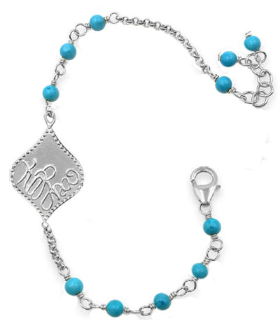 KARMA TURQUOISE CHARM BRACELET in gold or silver