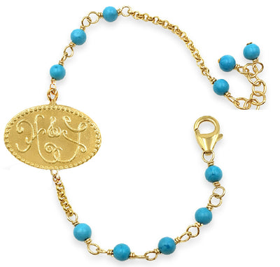 HOPE & FAITH TURQUOISE CHARM BRACELET in gold or silver