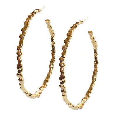 STEPPING STONE LARGE HOOP EARRINGS in Gold or Silver