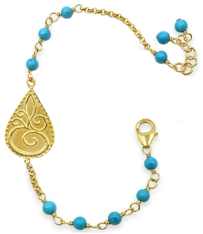 OM TURQUOISE CHARM BRACELET in Gold or Silver