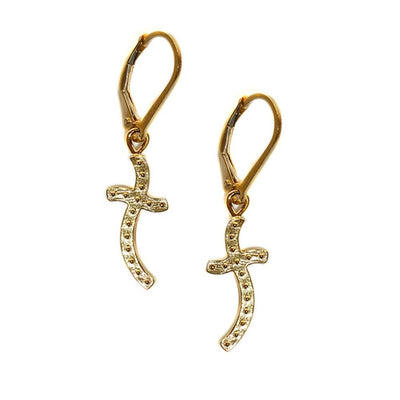 CROSS EARRINGS ~ gold or silver