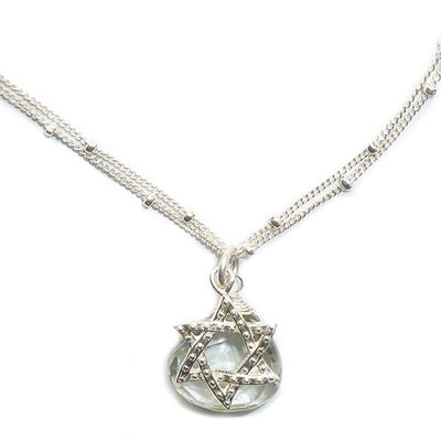 STAR OF DAVID SILVER NECKLACE WITH LARGE GEMSTONE