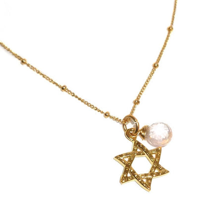 STAR OF DAVID SMALL GEMSTONE NECKLACE