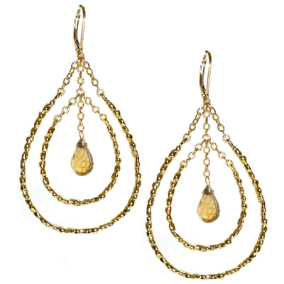STEPPING STONE CHANDELIER EARRINGS - In Gold, assorted stones