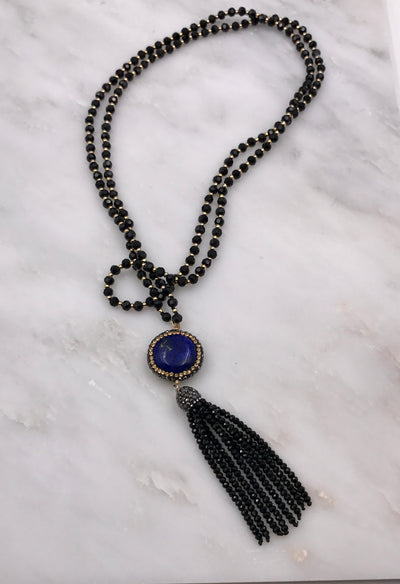 ARIA LONG TASSEL NECKLACE IN JET CRYSTALS & BLUE LAPIS