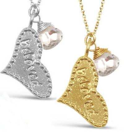 SWEET BELOVED HEART BIRTHSTONE NECKLACEs