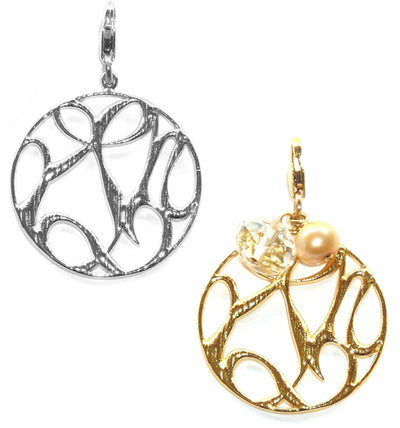 PEACE, LOVE & HAPPINESS MEDALLION GOLD CHARM ~ gold or silver