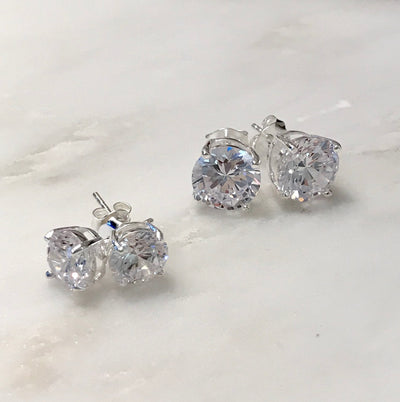 ALLEGRA CUBIC ZIRCONIA STUD EARRINGS, Sterling Silver, assorted Carat weights