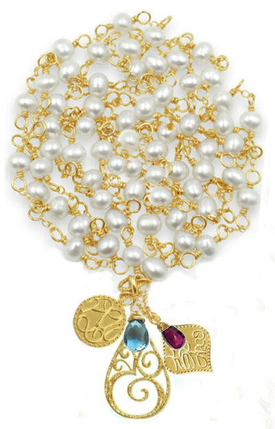 DOLCE VITA LONG CHARM NECKLACE, gold or silver, assorted pearls & stones