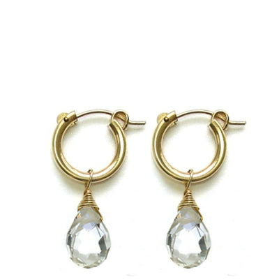 HOOPLA EARRINGS, gold or silver, assorted drops