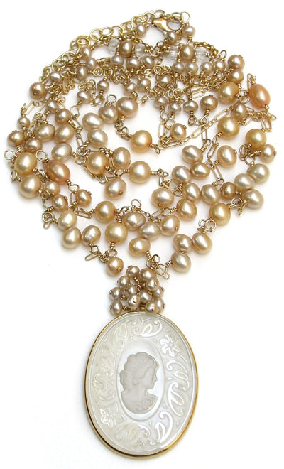 KATHERINE'S CAMEO MULTI STRAND PEARL NECKLACE