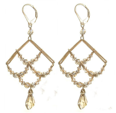LAUREN SWAROVSKI CRYSTAL EARRINGS ~ Gold or Silver, Assorted Colors