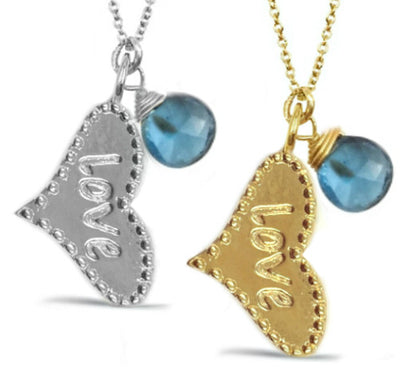 LOVE HEART BIRTHSTONE NECKLACES